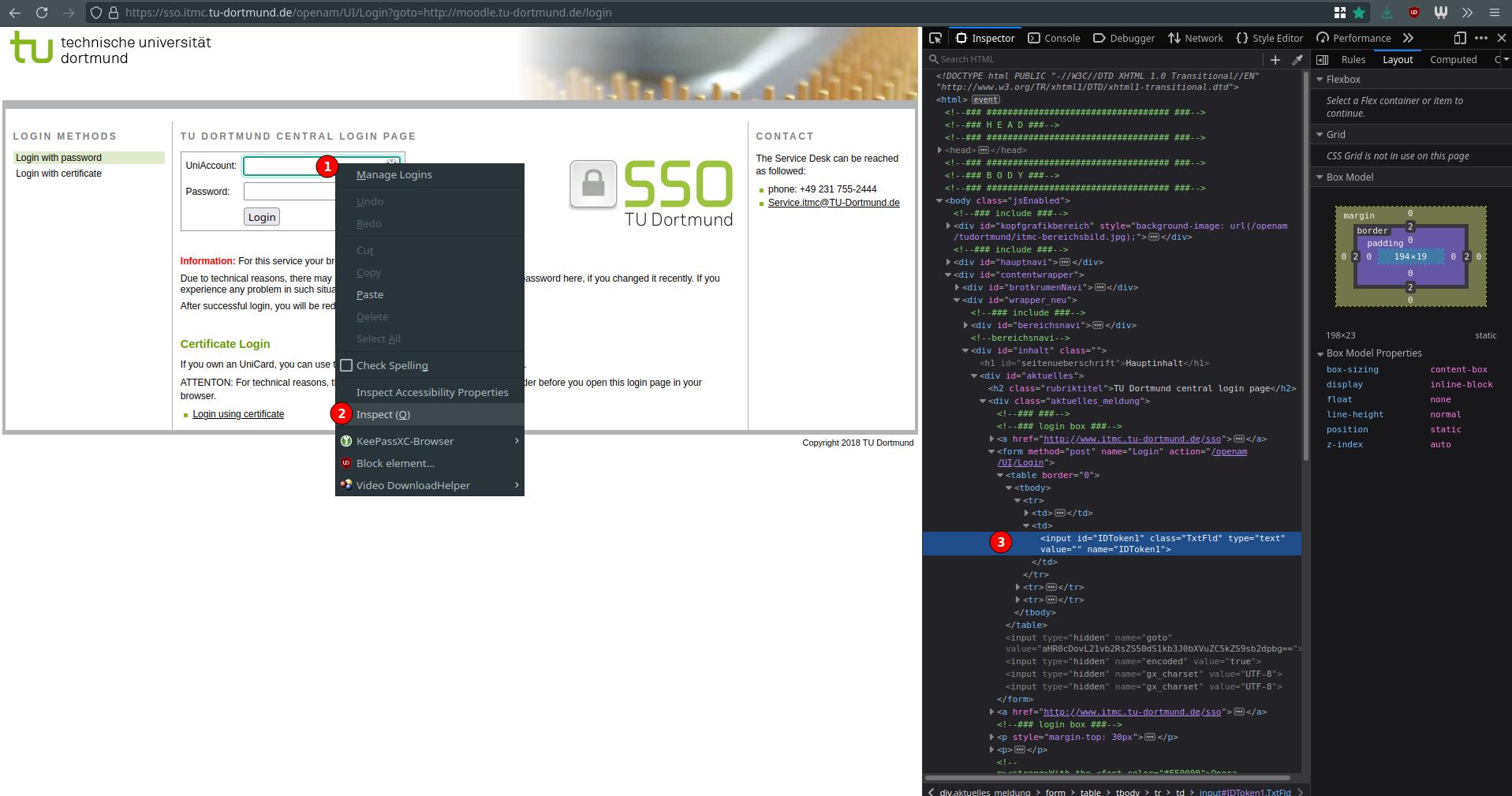 Browser mit geöffneter Login-Seite der TU Dortmund. Auf der rechten Seite sind die Entwickler-Werkzeuge geöffnet und man sieht den HTML-Code, der das Benutzername-Feld erzeugt.